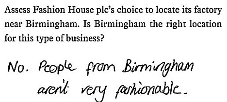 funny exam answers - Birmingham